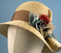 Ladies Straw Cloche Hat with Floral Embellishments
