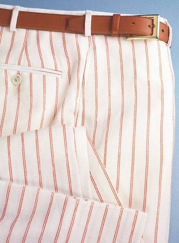 White Wool & Linen Trousers with Double Hairline Stripe in Fire