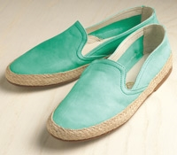 Women's Sueded Leather Espadrilles in Turquoise