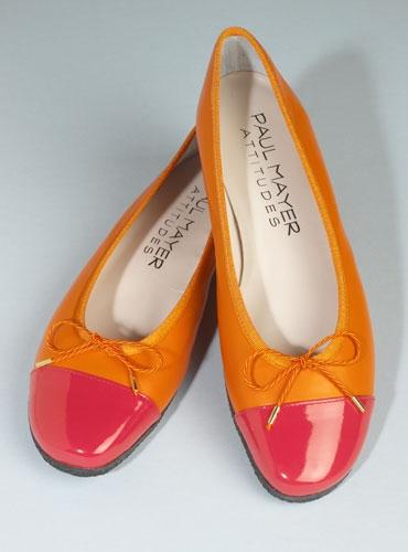 Contrast Toe Orange and Fuchsia Flats