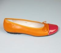 Contrast Toe Orange/Fuchsia Flats