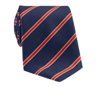 Silk Stripe Tie in Navy and Ruby