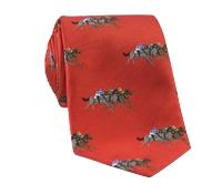 Silk Woven Equestrian Tie in Tangerine