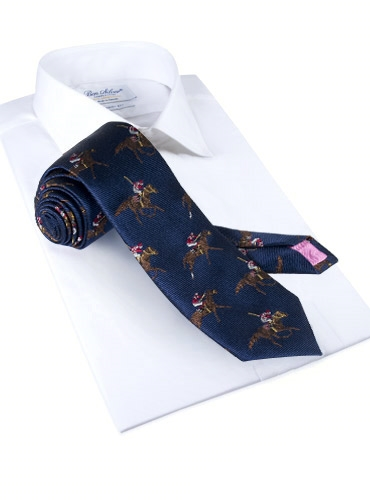Silk Woven Derby Motif Tie in Navy