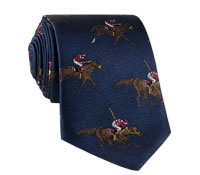 Silk Woven Derby Motif Tie in Navy