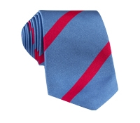 Silk Bar Stripe Tie in Sky with Magenta