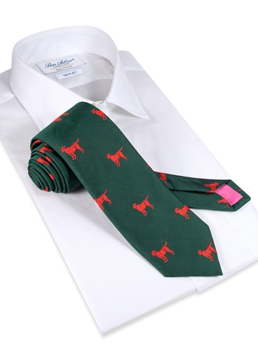 Jacquard Woven Lab Motif Tie in Hunter and Tangerine