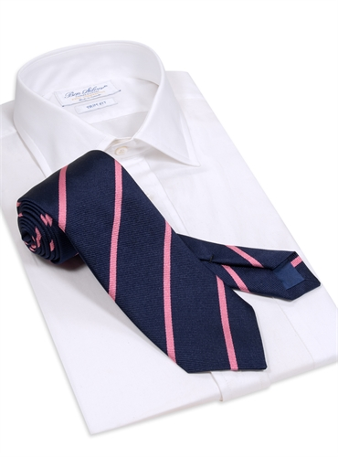 Silk Bar Striped Tie in Navy with Pink