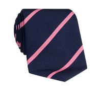 Silk Bar Striped Tie in Navy with Pink