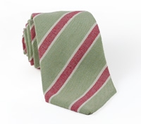 Linen and Silk Stripe Tie Moss/Claret