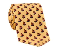 Silk Sailboat Printed Tie in Gold
