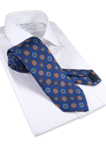 Silk Geometric Motif Tie in Royal