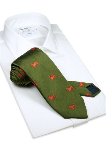 Jacquard Woven Lab Motif Tie in Olive