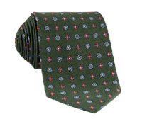 Silk Neat Floral Printed Tie in Forest