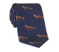 Silk Woven Fox Motif Tie in Navy