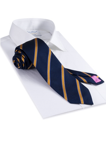 Silk Woven Tie in Navy and Marigold
