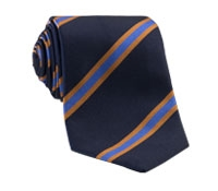 Silk Woven Stripe Tie in Navy and Cornflower