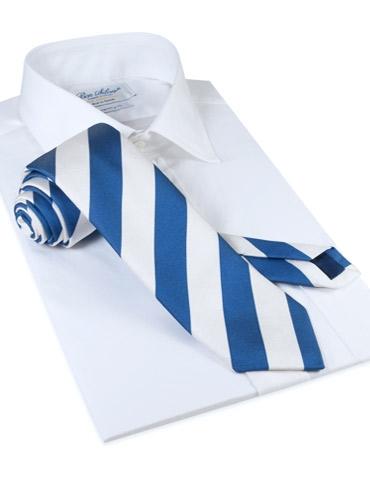Silk Block Stripe Tie in Navy and White