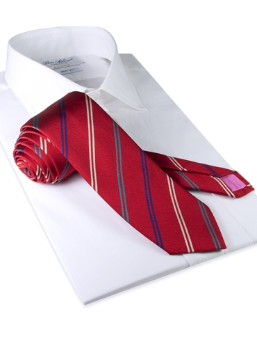 Silk Double Stripe Tie in Red