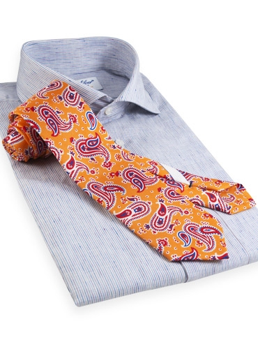 Silk Print Tie with a Paisley Motif in Marigold