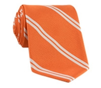 Mogador Silk Double Bar Stripe Tie in Tangerine