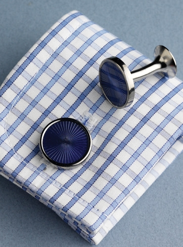 Round Fan Design Cufflinks in Blue