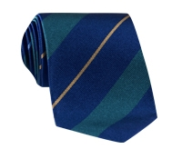 Silk Multi-Stripe Tie in Marine and Teal