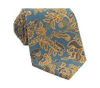 Silk Floral Printed Tie in Pacific