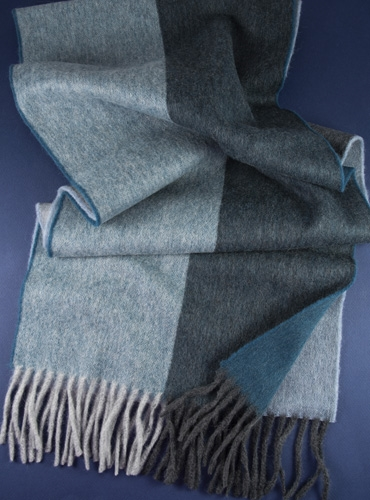 Lambswool and Angora Block Stripe Scarf in Petrol