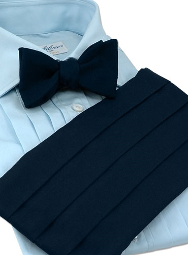 Navy Faille Cummerbund/Bow Set