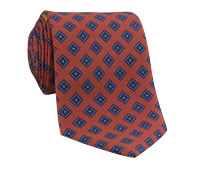 Silk Print Tie with a Diamond Motif in Henna