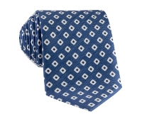 Silk and Linen Square Motif Printed Tie in Denim