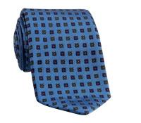 Silk Neat Print Woven Tie in Cobalt