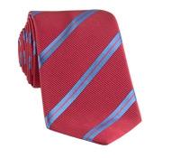 Mogador Silk Double Stripe Tie in Campari with Cobalt