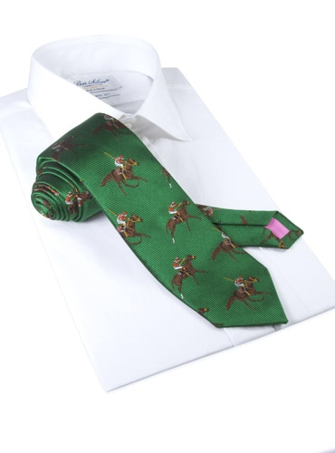 Silk Woven Derby Motif Tie in Forest
