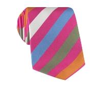 Silk Multi-Striped Tie in Pink