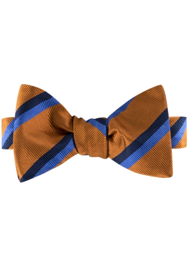 Silk Multi-Color Double Stripe Bow Tie in Copper