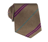 Multi-Stripe Silk Tie in Nutmeg With Fuchsia