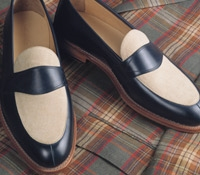 The Charleston Loafer in Navy and Linen