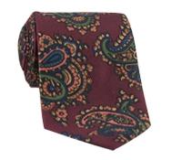 Silk Print Paisley Tie in Claret