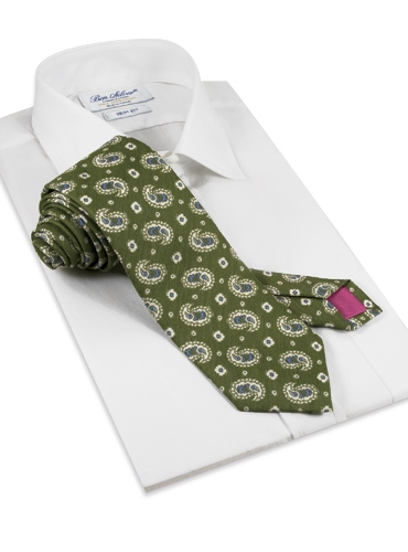Silk and Linen Printed Paisley Tie in Forest