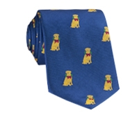Silk Woven Christmas Dog in French Blue