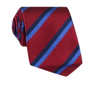 Silk Multi-Color Double Stripe Tie in Ruby