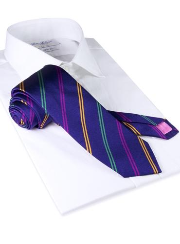 Silk Double Stripe Tie in Indigo