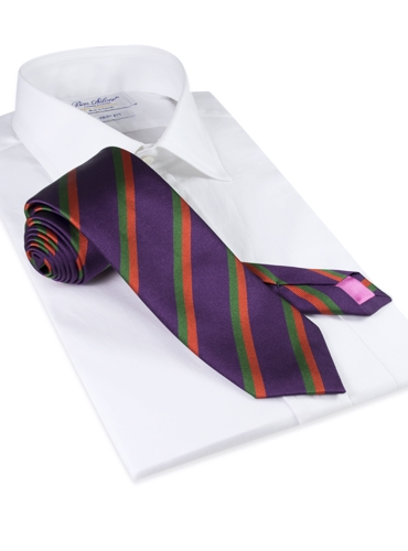 Woven Silk Double Striped Tie in Violet