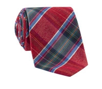Woven Mogador Plaid Tie in Red