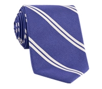 Mogador Silk Double Bar Stripe Tie in Blueberry
