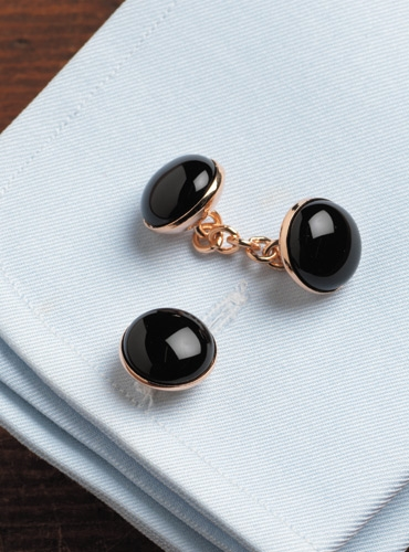 Rose Gold Black Onyx Cufflinks
