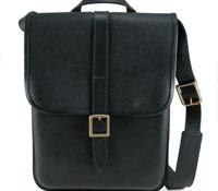 Black Leather Vertical Satchel