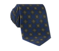 Silk Printed Madder Tie With Tile Motif in Navy